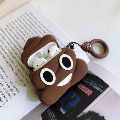 funny poop earphones storage charging case for apple airpods
