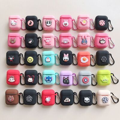 3d shape soft silicone stich with hand ring for apple airpods