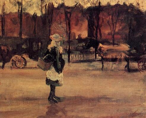 Girl in the Street, Two Coaches in the Background, 1882
