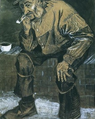 Fisherman with Souwester, Sitting with Pipe, 1883 01