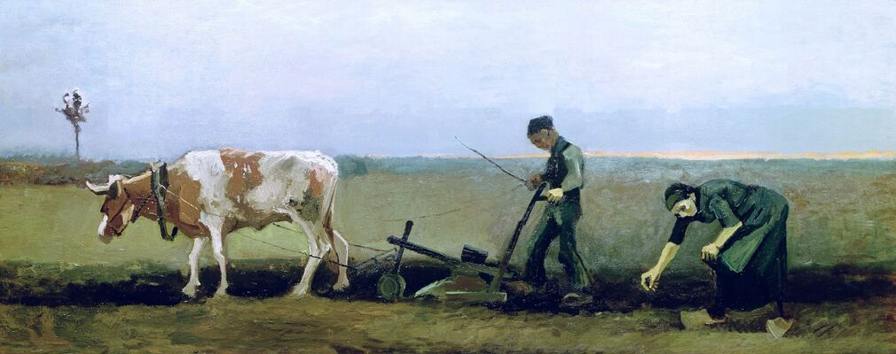 Ploughman with Woman Planting Potatoes, 1884 (cropped version)