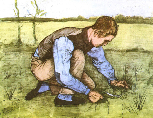 Boy Cutting Grass with a Sickle, 1981