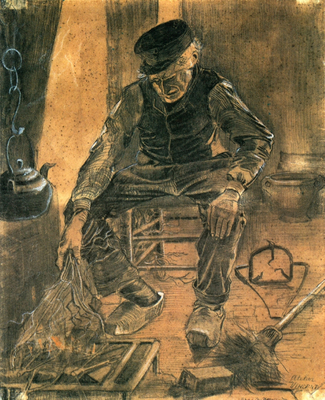 An Old Man Putting Dry Rice on the Hearth, 1881