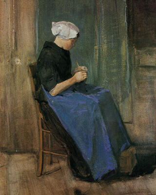 Young Scheveningen Woman Knitting, 1881