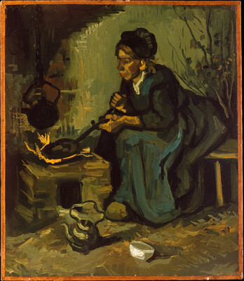 Peasant Woman Cooking by a Fireplace, 1885