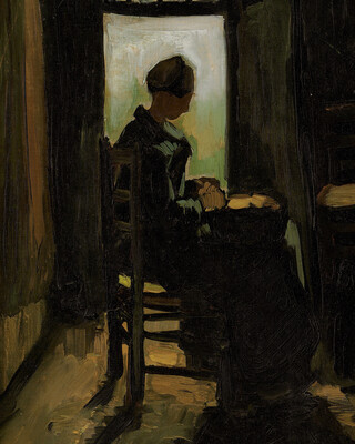 Woman Seated Before an Open Door, Peeling Potatoes, 1885