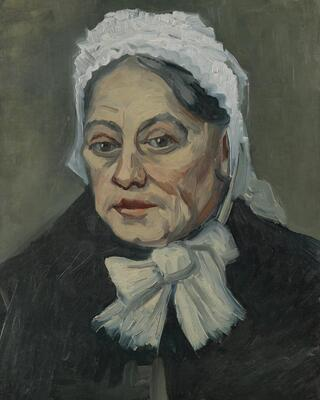 Head of an Old Woman in a White Cap, 1885 b