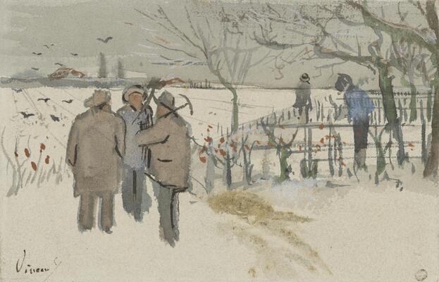 Miners in the Snow - Winter, 1882