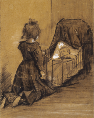Girl Kneeling by a Cradle, 1883 01